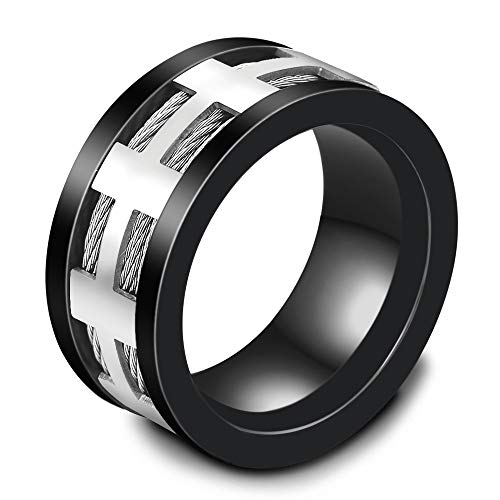 JINGB Jewelry Stainless Steel Weiya Black Ring Ring Men's Trend Jewelry Accessories (Color : Black US, Size : 11) from JINGB-RING