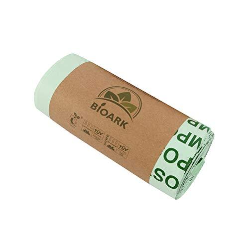 Juhuizhe kompostierbare, biologisch abbaubare Müllbeutel, Recycling-Müllbeutel, extra dick, extra groß, zertifiziert durch BPI und TÜV EU, Green, 1 Rolle (25 Stück)., 1