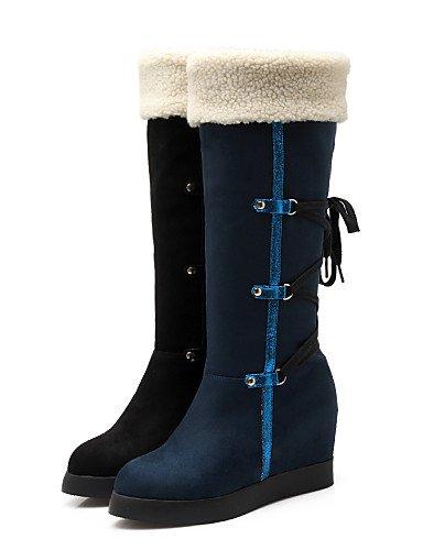 Xzz Cn38 us7 Blue us8 Black Tacón Dark Vellón Botas De Punta 5 Vestido Plataforma Eu39 Moda Mujer A Cuñas Zapatos Uk6 Casual Cuña Azul Cn39 La Uk5 5 Redonda negro Eu38 rwAnHrxR