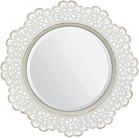 CKK Industrial LTD Stonebriar Decorative Metal Lace Beveled Mirror for Wall with Attached Mounting Bracket, White with Gold Highlights