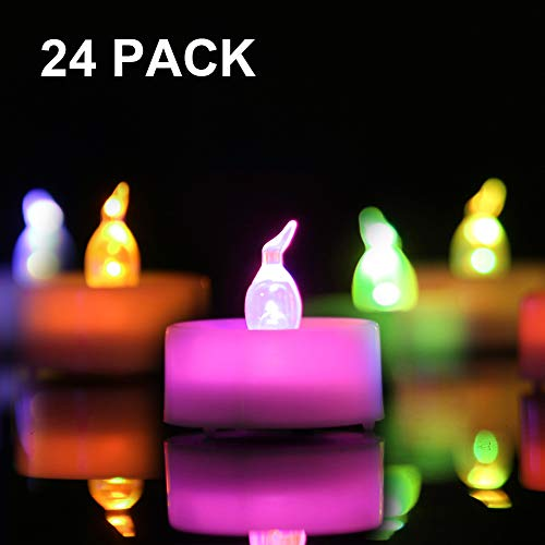 Homemory 24 Pack Color Changing Tealight Candles, 7 Colored LED Tea Lights, Battery Operated Colored Fake Candles, No Flickering Light, D1.4 xH1.25 [White Base]