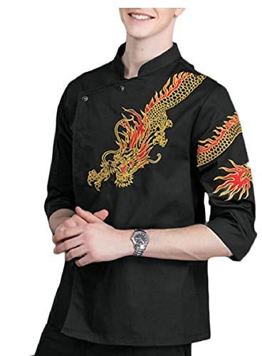 (FLCH+YIGE Men's Fashion Dragon Chinese Style Unisex Chef Long Sleeve Coat Jacket Black M)