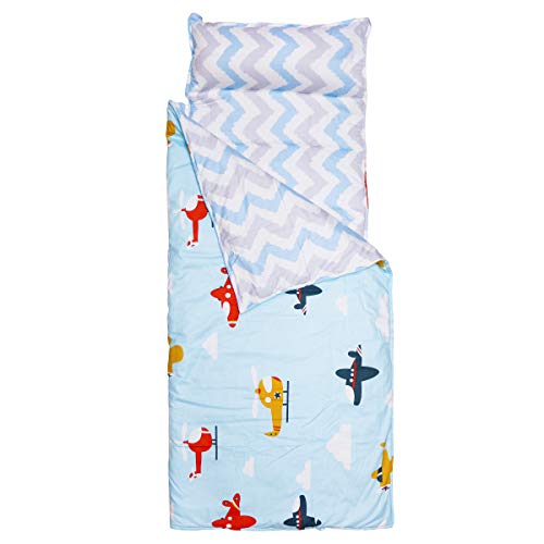 Hi Sprout 100% Cotton Kids Toddler Lightweight and Soft Nap Mat with Zipper - Helicopter