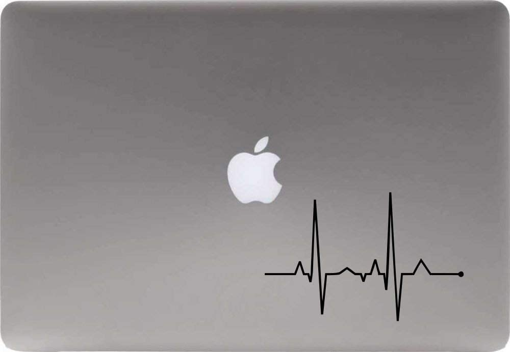 Heartbeat Line Version 1 Vinyl Decal Sticker for Computer MacBook Laptop Ipad Electronics Home Window Custom Walls Cars Trucks Motorcycle Automobile and More (Black)