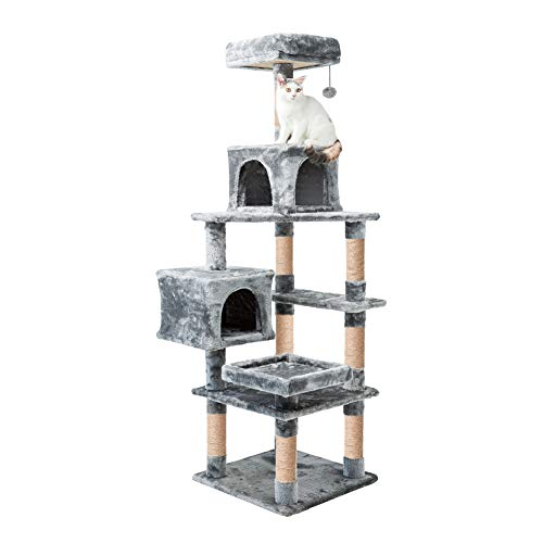 MEWANG Cat Tree Condo Kitten Activity Tower Pet Kitty Play House with Scratching Posts Interactive Toys Gray