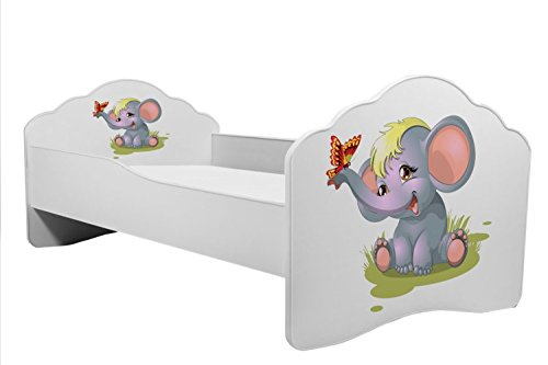 KOBI Lettino per bambini letto elefante 160x 80cm con Mattres