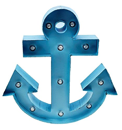 11 LED Metal Marquee Light Blue Anchor Plaque