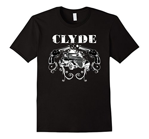 [Mens Clyde The Famous Gangster, Matching Couples Halloween Tshirt Small Black] (Famous Couples Costumes)