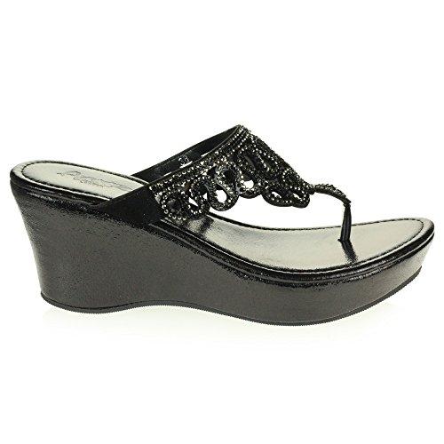 Shoes Womens Casual Diamante Heel On Low Toe Wedge Sandals Lightweight Crystal LONDON AARZ Slip Size Black Comfort Ladies Open 5O0vqpcWaw