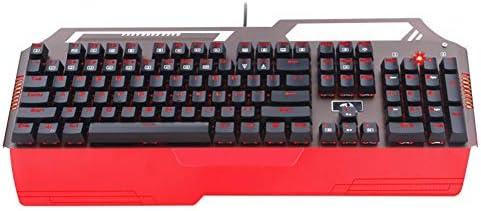 Danankan メカニカルゲーム用キーボード、104キー防水オーロラスイッチリストレスト (Color : レッド)