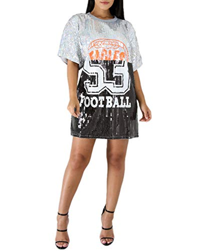 STAY CHIC Sequins Short Sleeve 08 Print Casual Mini Dress (One Size, Silver) ()