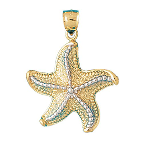 14K Yellow Gold Starfish Pendant - 40 mm