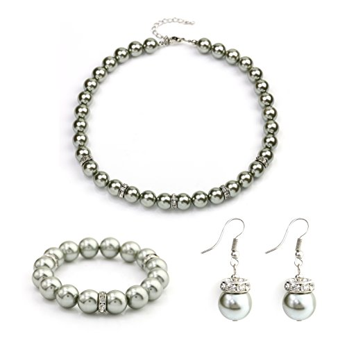 (United Elegance - Contemporary Gray Faux Pearl Necklace with Coordinating Bracelet & Earrings with Swarovski Style Crystals)