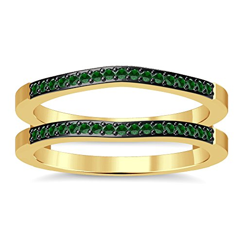 Silvergemking Wedding Enhancer Wrap Ring Guard Green Garnet Simulated Diamonds 14K Yellow Gold Plated ()
