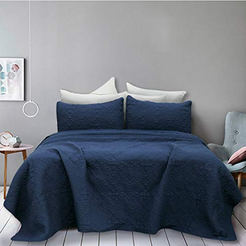 Natural Union Pinsonic Bedspread Set Full/Queen Size Oversized Luxury Quilt Sets Hypoallergenic Bed Cover with Shams Embossed Super Soft and Lightweight Fade/Stain Resistant (Dark Blue)