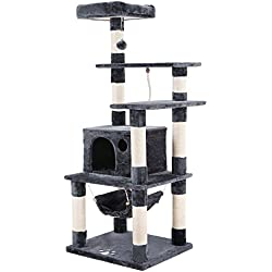 SONGMICS Cat Tree Condo Multi-level Cat Tower with Scratching Posts Kitten Furniture Play House Grey UPCT88G