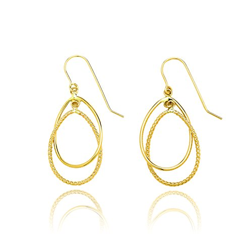 14k Yellow Gold Diamond Cut and High Polished Double Tear Drop Earring with Fish Hook for Women and Girls by SL Gold Imports