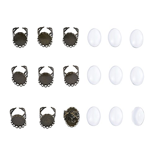 Pandahall 10Sets DIY Brass Pad Ring Cameo Cabochons Setting Blank Bezel Tray Photo Cover Making with Oval Transparent Clear Glass Cabochons for DIY Jewelry Makings Tray 25x18mm