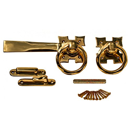 Solid Brass Ring Gate Latch Pull Twist Elegant Design 5 1/8