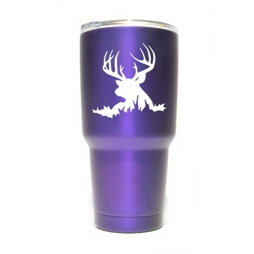 Deer Buck Vinyl Decals Stickers ( 2 Pack!!! ) | Yeti Tumbler Cup Ozark Trail RTIC Orca | Decals Only! Cup not Included! | 2 - 3 X 3 inch White Decals | KCD1264W