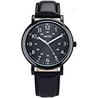 Black Watches Men Leather Band Quartz Analog Watch Arabic Numerals Dial Easy Read with Luminous Hands Waterproof Fashion Business Wristwatches Gifts for Family Friends