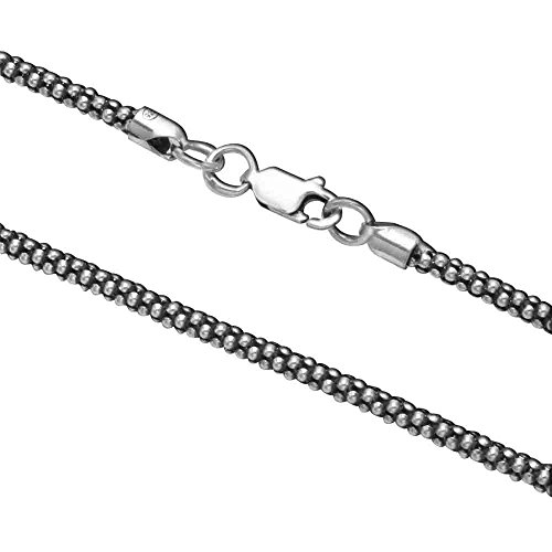 (Oxidized Sterling Silver 2.8mm Popcorn Chain 7.5