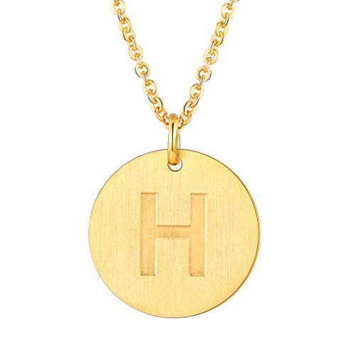Suplight 18K Gold Letter Necklace H Personalized Name Jewelry Stainless Steel Trendy Alphabet Initial Disc Coin Charm Necklace for Women - Charm Disc Gold
