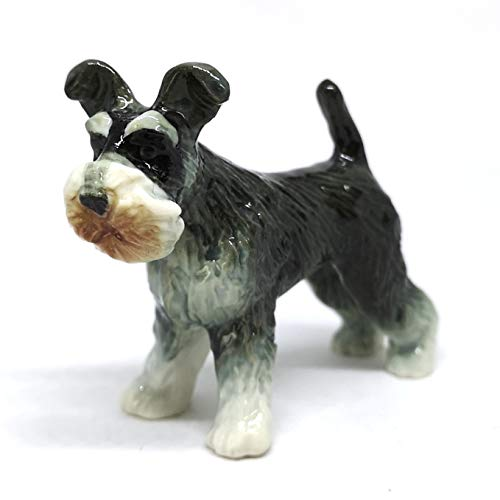 ZOOCRAFT Miniatures Collectible Ceramic Schnauzer Dog Figurine Animals Standing Gray Hand Painted