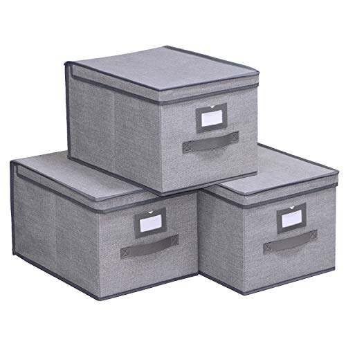 Lid Top Bin - Onlyeasy Collapsible Storage Bins with Lids Pack of 3 - Large Foldable Storage Box Containers Organizer with Leather Handles and Label Holder, 11.8