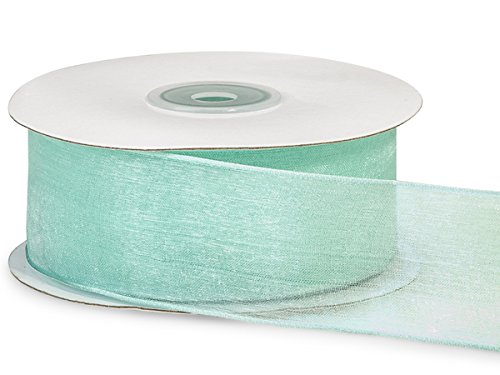 "Pack Of 1, Solid Aqua Wired Encore Sheer Ribbon 1.5"" X 25 Yards 100% Nylon Ribbon For Extra Body & Easy Bow Making"