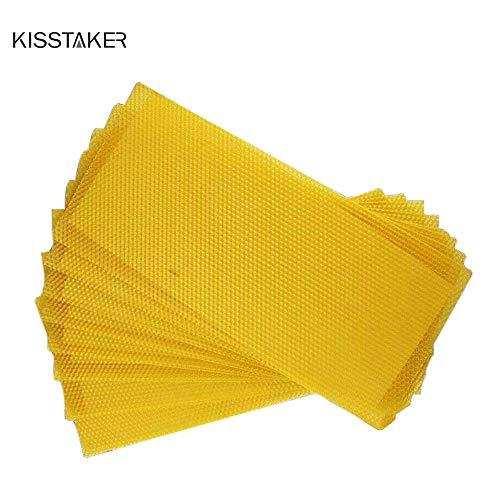 Kisstaker Beeswax Sheets, 15Pcs Honeycomb Wax Frame Beekeeping Foundation Honey Hive Equipment Tool 16.3x7.7 inch (Beeswax ()