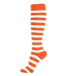 Girl Knee High Socks Soft Cotton Colorful Pattern Design For Women Summer or Winter (C-Color Stripes I-5pair)