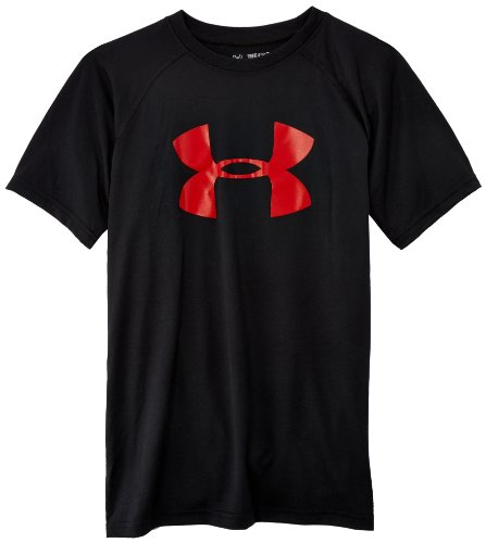 Under Armour Boys' Tech Big Logo T-Shirt, Black /Red, Youth Small