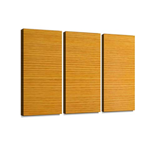 (Wood Texture with Natural Pattern, Brown Wood. Print On Canvas Wall Artwork Modern Photography Home Decor Unique Pattern Stretched and Framed 3 Piece with Frame)
