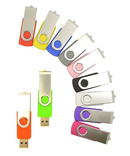 FEBNISCTE 50 Pack Swivel Multi-Coloured 1GB USB Thumb Flash Drive - 10 Color Assorted by FEBNISCTE (Image #5)