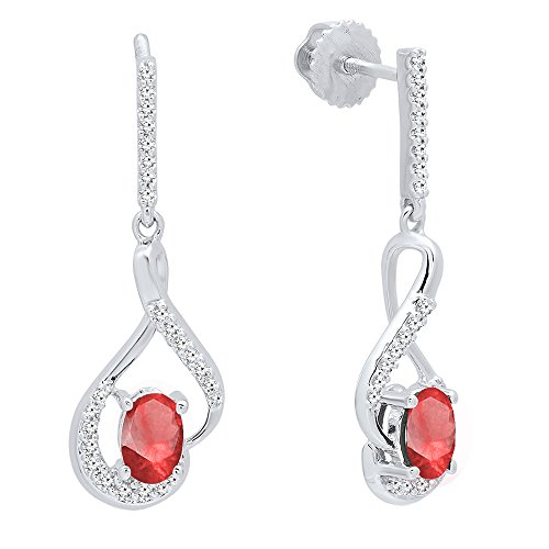 Dazzlingrock Collection 14K 6X4 MM Oval Ruby & Round White Diamond Ladies Dangling Earrings, White Gold 14k 6x4mm Oval Ruby Earring