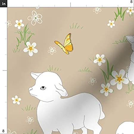 Nature Springtime Soft Image Made to Order Easter 3 Sizes Babies Lamb and Butterfly Embroidered Iron-on Patch Kids Storybook Style