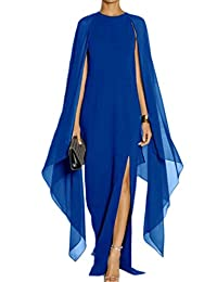 Women Elagant Long Chiffon Formal Gown Prom Evening Dresses With Cape