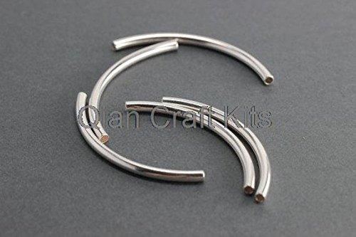 QIAN 300pcs Big Silver Curved Tubes 50mm3mm Silver Curved Bar Bead - Silver Plated Tube Bead - Thin Tube Bar Beads - Silver Curved Beads Plated Tube