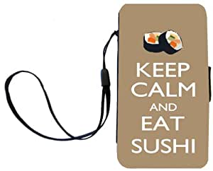 Rikki Knight™ Keep Calm and eat Sushi Brown Color Galaxy S3 i9300 PU Leather Wallet Type Flip Case with Magnetic Flap and Wristlet for Samsung Galaxy S3