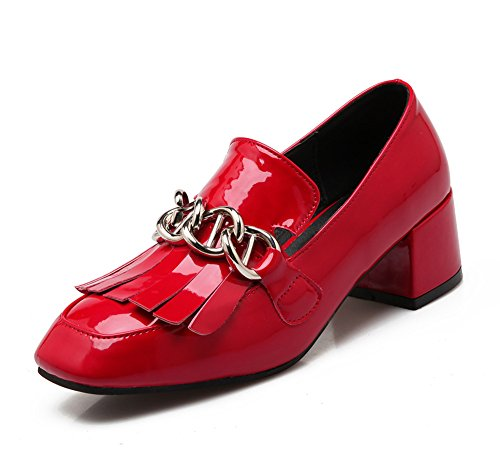 Easemax Womens Korean Casual Square Toe Chunky Kitten Tacchi Pumps Con Nappe Rosse