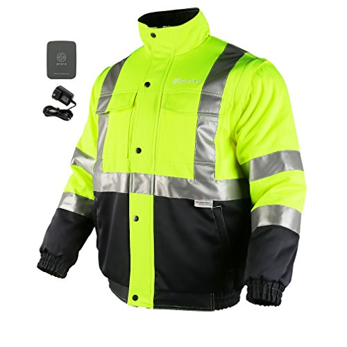 ororo Men's Heated Jacket ANSI Class 2 High Visibility Safety Bomber Jacket with Battery (Pack Bomber)