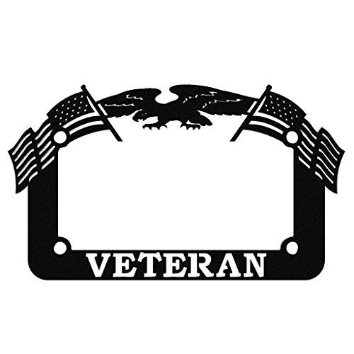 American Eagle Plate - Ferreus Industries Black Powdercoat Motorcycle License Plate Frame Veteran Eagle American Flag Veteran - 1 Piece LIC-143-Black