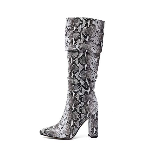 ISNOM Colorful Snakeskin Boots Mid-Calf Boots Thick High Heels Pointed Toe Zipper Slouch Boots Snake