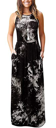 Aliling Maxi Dress Halter Top, Women's Fashion High Waist Sleeveless Loose Tie Dye Casual Maxi Long Dresses with Pockets Black XL