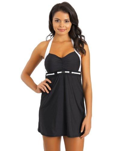 Nautica Women's Spindle Molded Cup Swim Dress, Black, 8