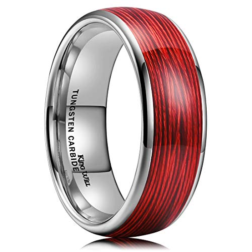 King Will Mens 8mm Tungsten Carbide Wedding Ring Red Steel Wire Inlay Domed Style High Polished 7 (Meaning Of Their And There In Hindi)