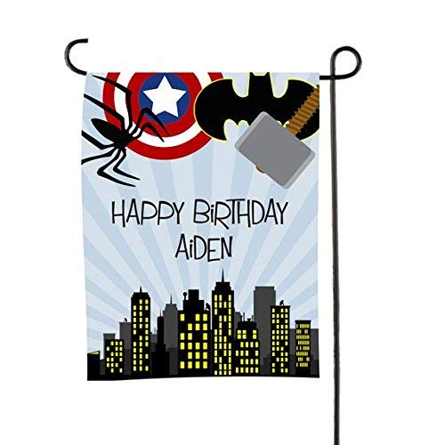 Personalized Garden Flag Double-Sided Durable Custom Monogram Yard Flags Superhero Birthday Welcome Sign, 12
