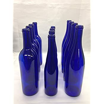 12 - Assorted Cobalt Blue Bottles 375ml - 750 ML for Crafting, Parties, Bottle Trees, Vases, Mosaics, Home Brew
