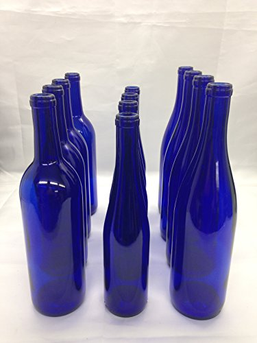 12 - Assorted Cobalt Blue Bottles 375ml - 750 ML for Crafting, Parties, Bottle Trees, Vases, Mosaics, Home Brew -